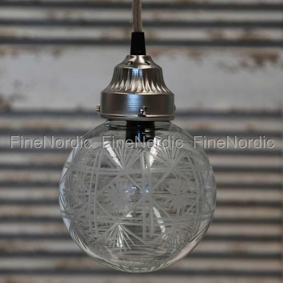 Chic Antique Hengelampe Klokke Glas med Baldakin H 19 cm
