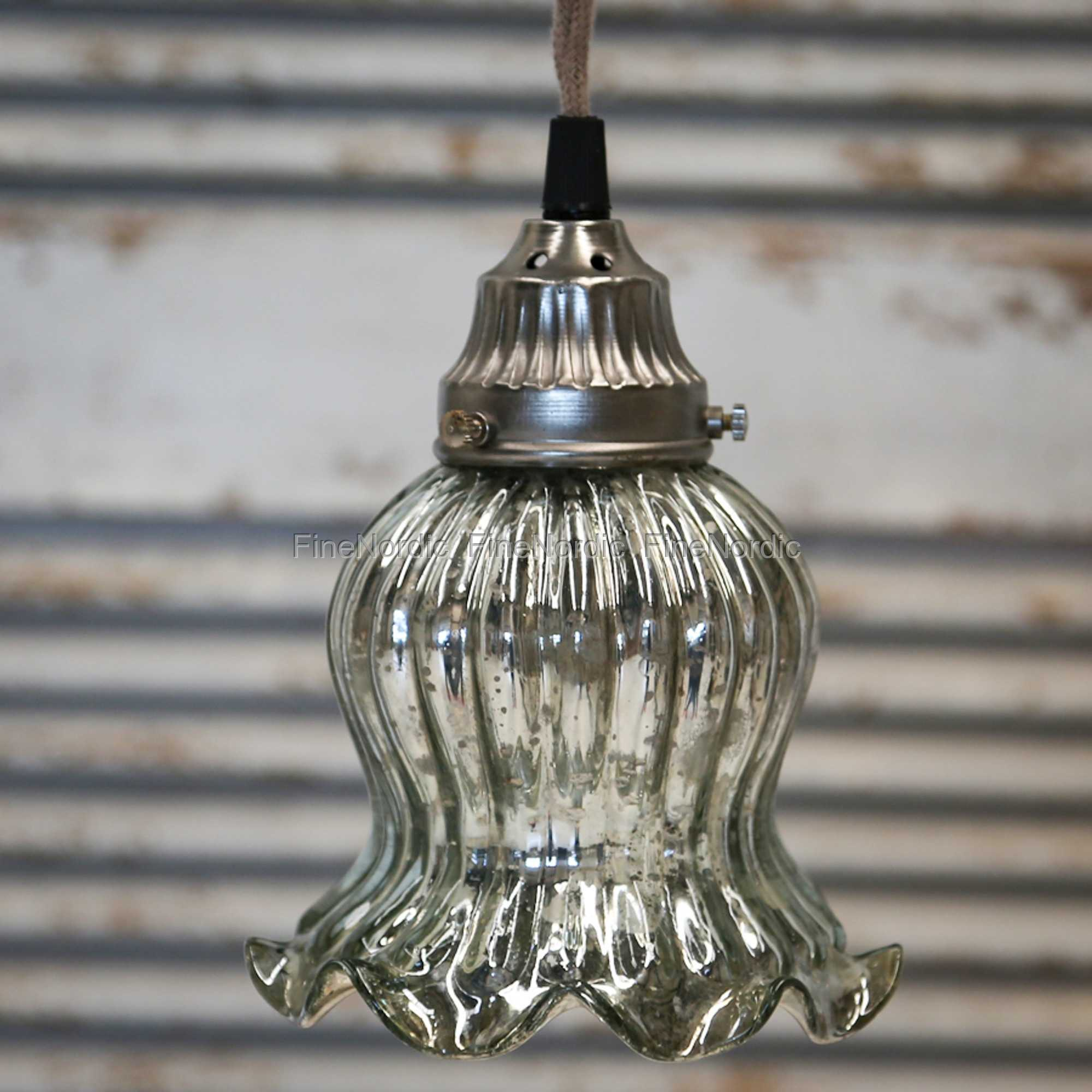 Chic Antique Lampe med Perlekant Glas Handgjort