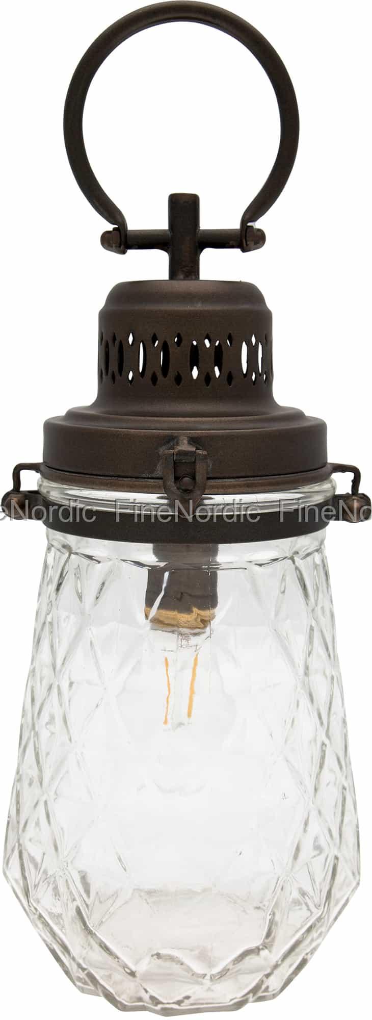 GreenGate Lampe Check Clear med Håndtak